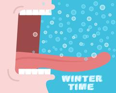 Winter time. Yells. Winter cry. Snowflakes fly and fall into tongue. Man scre Stock Illustration