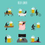 Beer lover set. Love of Beer mug collection. Man and alcohol in movie theater Piirros