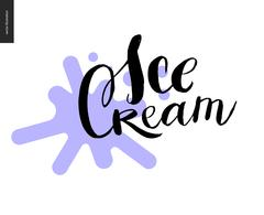 Ice Cream lettering and a violet blot Stock Illustration