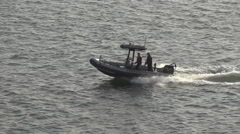 Police Boat Escort Charleston Harbor Medium Shot Ungraded Stock Footage