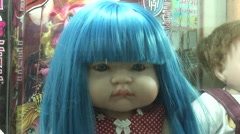 Blue Haired Luk Thep Doll  Stock Footage
