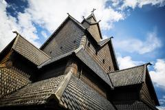 Close-up of eidsborg wooden stave church in Telemark Norway Stock Photos