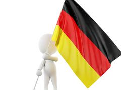 3d White people with Germany flag. Stock Illustration