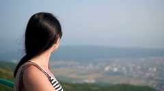 Brunette Long Hair Female In Sunglasses Posing On The Lookout Mountain Stock Footage