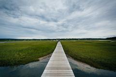 The Sandwich Boardwalk and a wetland, in Sandwich, Cape Cod, Massachusetts. Kuvituskuvat