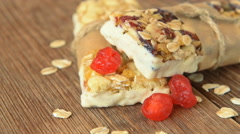 Homemade granola bars with dried berries Stock Footage