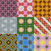 Set of glass mosaic kaleidoscopic seamless generated textures Stock Illustration