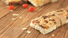 Delicious bites with cherry, cranberry, almond and chocolate Stock Footage