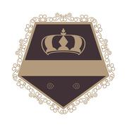 Decorative vintage frame with crown icon Stock Illustration