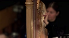 Playing harp in a symphony orchestra. Stock Footage