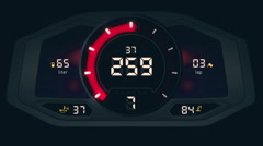 Front view of digital car interface with speedometer and tachometer Stock Footage