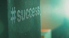 Success Brainstorming Mind Map on Blackboard Stock Footage