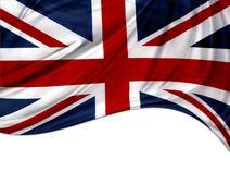 Union Jack flag on white background - stock photo