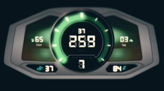 Front view of green digital car interface with speedometer and tachometer Stock Footage