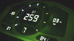 Green distorted digital car interface with speedometer and tachometer Stock Footage