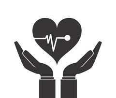 shelter hand health icon - stock illustration