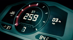 Blue digital car interface with speedometer and tachometer Stock Footage