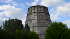 Large power plant chimney Stock Footage