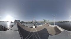 Veldebrug bridge and Nemo Science Museum, Amsterdam, Netherlands 360 video Stock Footage