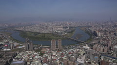 Taiwan,New Taipei,overloooking of Xindian Creek Stock Footage