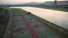 Taiwan,New Taipei,Basketball Court of Zhouziwei ditch Stock Footage