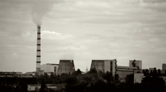 Panoramic view of power plant Stock Footage