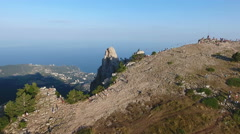 View of Big Yalta city on South coast of Crimea from Ai-Petri mountain Stock Footage