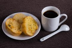 Cup of Coffe with Toasts Stock Photos