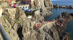 Manarola with unidentified people, ULTRA HD 4k, real time Stock Footage