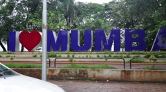 I Love Mumbai Sign in India Stock Video Stock Footage