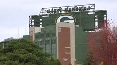 Establishing shot of Lambeau Field, home of the NFL Green Bay packers. Stock Footage