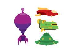 UFO spaceship vector set Stock Illustration
