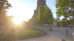 Golden Hour at Eiffel Tower - Tourism in Paris European Landmark Stock Footage