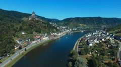 Aerial view flying into Cochem, Germany along the Moselle River - stock footage