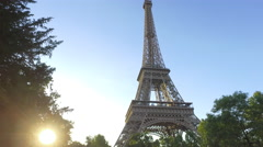 Golden hour Shot of Eiffel Tower and Tourism in Paris European Landmark Stock Footage