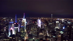 New York City Manhattan Times Square panorama aerial view Stock Footage