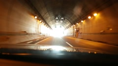 Car Driving Through a Long Tunnel Stock Video Stock Footage