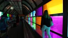 Passengers Walking in Abstract Airport Walkway Stock Video Stock Footage