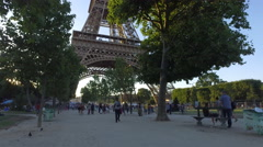 Shot of Eiffel and Tourism in Paris Stock Footage