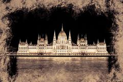 The Hungarian Parliament Building with bright and beautiful illu Stock Illustration