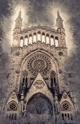 The church of Sant Bartomeu, Saint Bartholomew, in Soller Stock Illustration