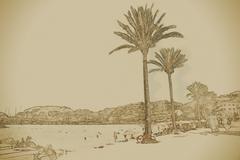 View of the beach of Port de Soller Stock Illustration