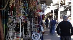 People Walking by a Tourist Trinket Shop in Tel-Aviv, Israel Stock Footage