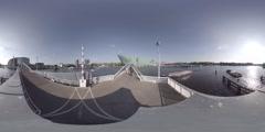 Veldebrug bridge and Nemo Science Museum, Amsterdam, Netherlands 360 video VR Stock Footage