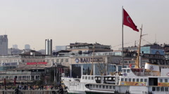 Tracking shot of a large Turkish flag in Istanbul, Turkey Stock Footage