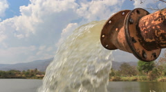 Pump water fill in reservoir , storage before drought in summer Stock Footage