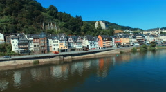 Flying into Cochem, Germany over the Moselle River Stock Footage