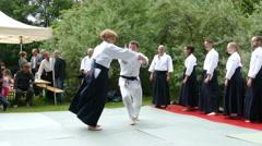 4K Japanese Karate Martial Art demonstration self-defense fighting technique Stock Footage