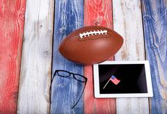 Analyzing American football game with computer technology Stock Photos