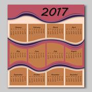 Abstract waves calendar 2017 year Stock Illustration